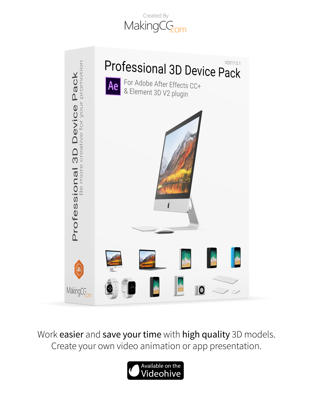 Professional Apple 3D Device Pack Promo Wallpaper