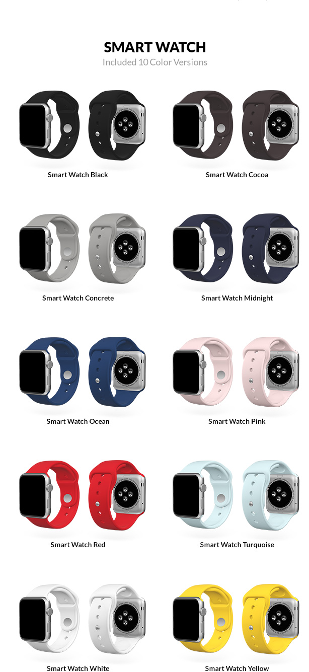 Apple Watch Alluminum 3D models with 10 color versions