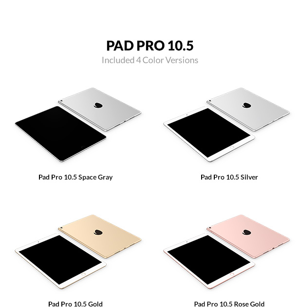 iPad Pro 10.5 inch 3D models with 4 color versions