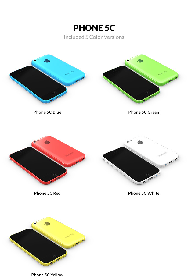 iPhone 5c 3D models with 5 color versions