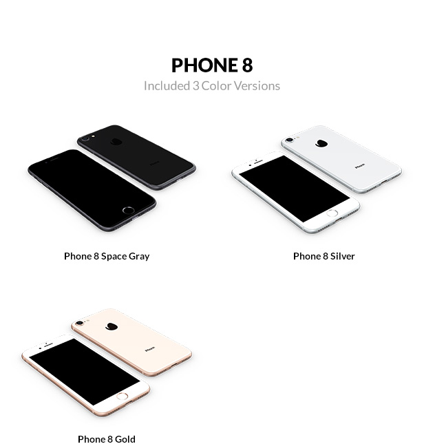 iPhone 73D models with 5 color versions