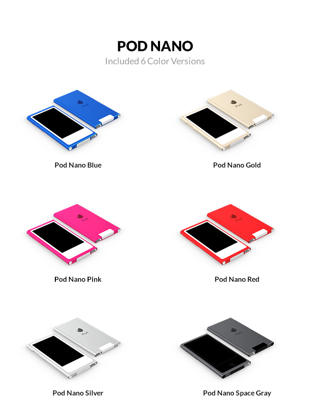 iPod Nano 3D models with 6 color versions