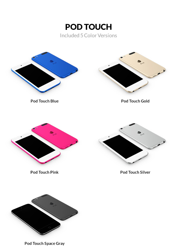 iPod Touch 3D models with 5 color versions