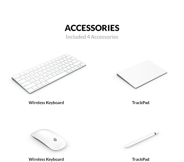 MagicMouse, MagicPad, Apple Pencil and Wireless keyboard 3D models