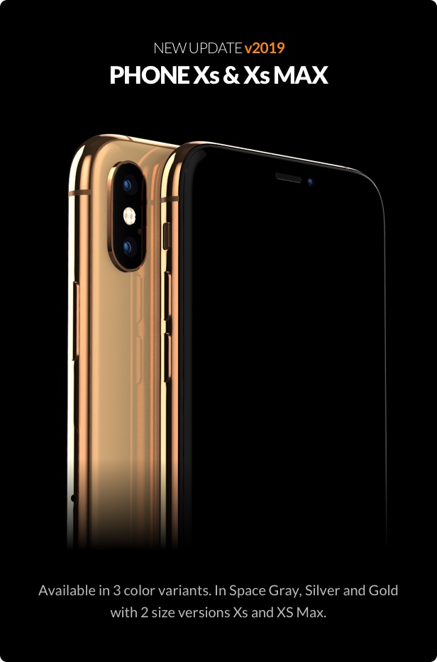 New iPhone Xs and Xs max 3D models for element 3d