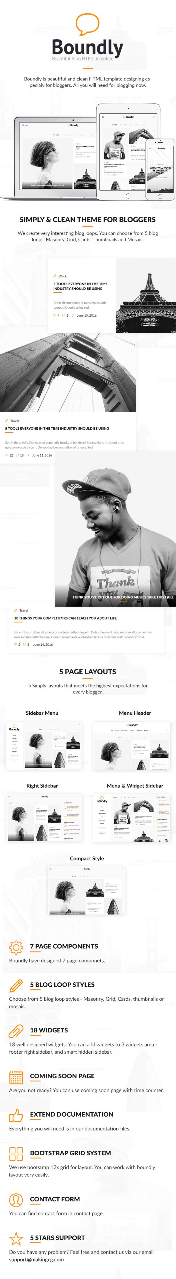 Boundly, HTML Template for Bloggers