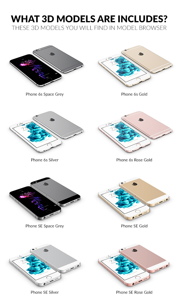 iphone 6s and SE 3D model
