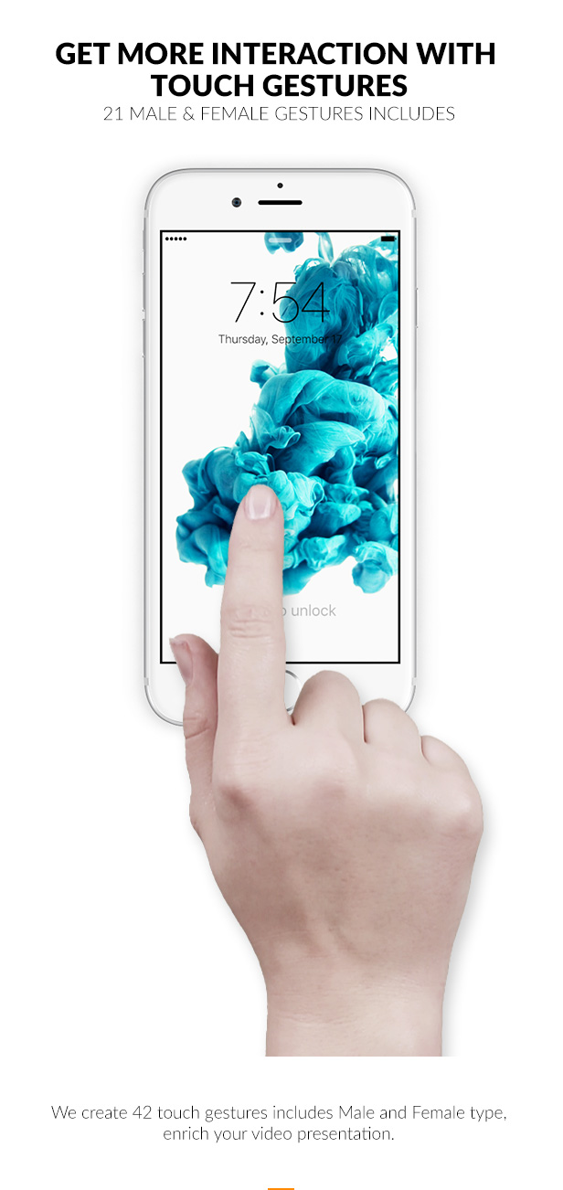 We create 42 touch gestures includes Male and Female type, enrich your video presentation.