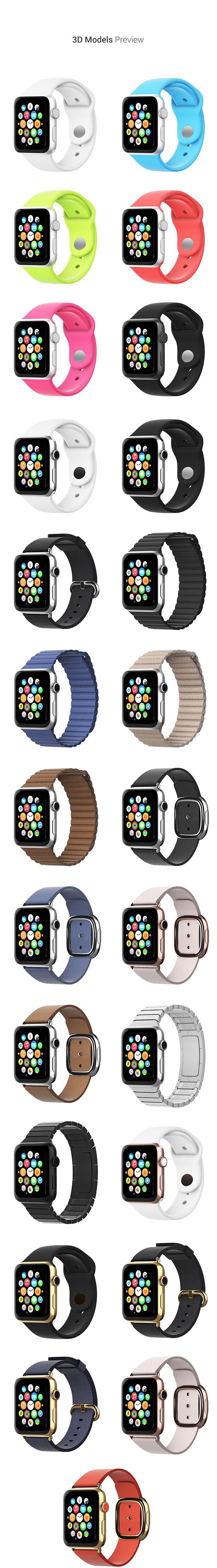 Apple watch 3D Models for Element 3D